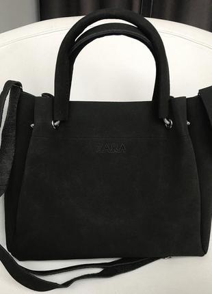 Крутая женская сумка zara замш