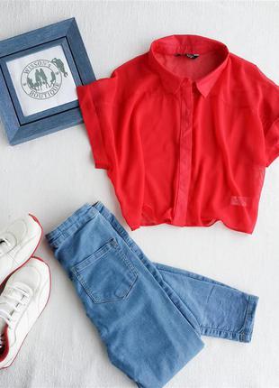 Укороченная шифоновая блуза select