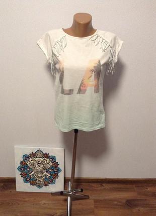 Трендовая футболка с бахромой / горячая цена/ скидки!