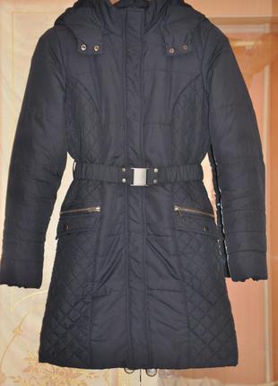 Темно синее деми пальто на синтепоне bhs petite