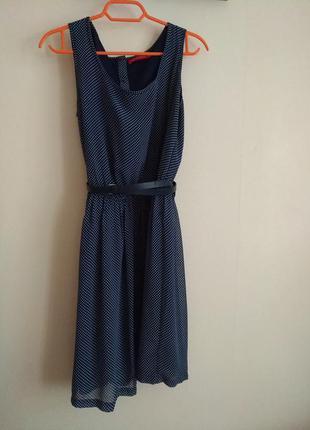 Классное шифоновое платье в горошек от o'stin