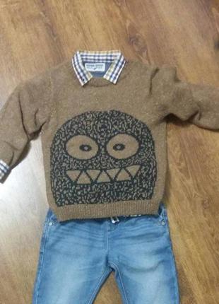 Рубашка и свитер некст 2-3 года