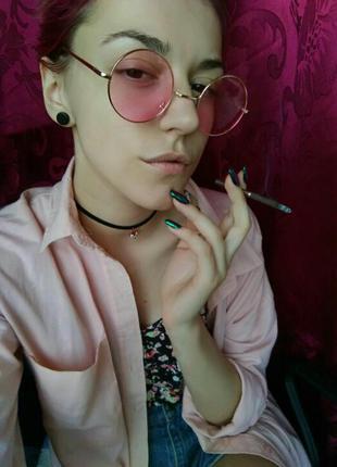 Модные круглые розовые очки, очки с розовыми линзами и тонкими дужками