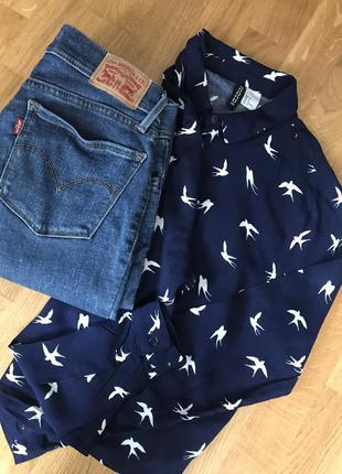 Стильная темно синяя рубашка с птичками.