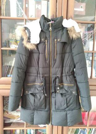 Женская черная зимняя парка, куртка
