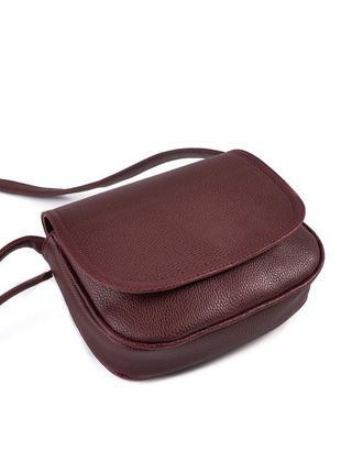 Бордовая маленькая сумка через плечо кроссбоди матовая с клапаном