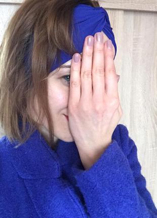 Пальто цвета индиго м- ка 42% шерсть