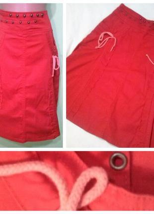 Юбка красная трапеция  плотный коттон 12 размер