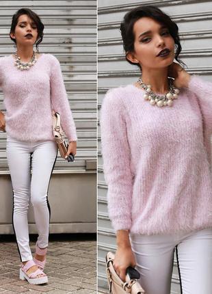 Розовый мягкий мохнатый нежный свитер травка свитшот джемпер реглан