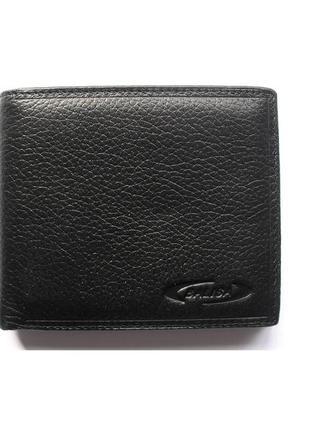 Черный кожаный кошелек бумажник портмоне, 100% натуральная кожа