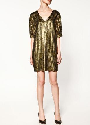 Золотое платье-туника zara