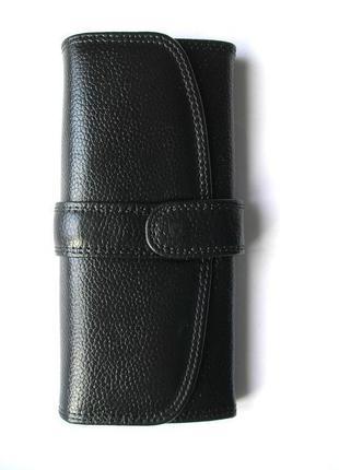 Классический черный кожаный кошелек, 100% натуральная кожа
