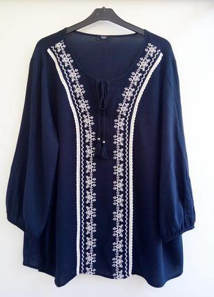 Шикарная свободная блуза из вискозы с вышивкой/вышиванка/рубашка с вышивкой