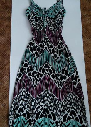 Платье длинное сарафан большой размер54 56 58 размер принт топ лук скидка sale