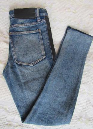 Дорогой бренд джинсы высокая талия/высокая посадка вставки из кожи плотный джинс mom