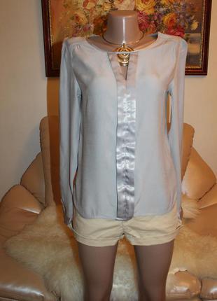 Шикарная серая серебристая блуза с красивой отделкой vero moda s