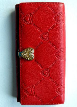 Большой кожаный красный кошелек сердечки, 100% натуральная кожа