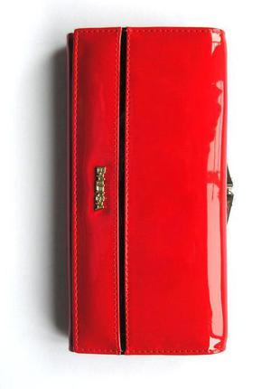 Большой красный кожаный лаковый кошелек, 100% натуральная кожа