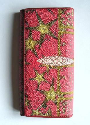 Большой розовый кожаный кошелек, винил + 100% натур. телячья кожа, доставка бесплатно