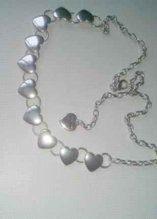Колье чокер цепочка сердечки ожерелье pilgrim