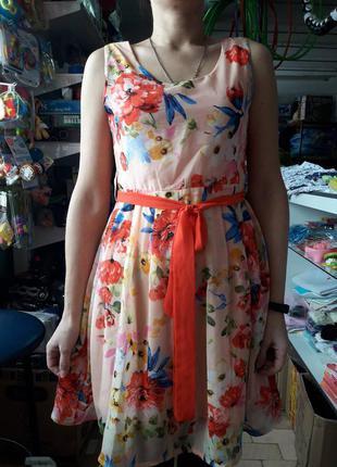 Сарафан летнее платье персиковое в цветы