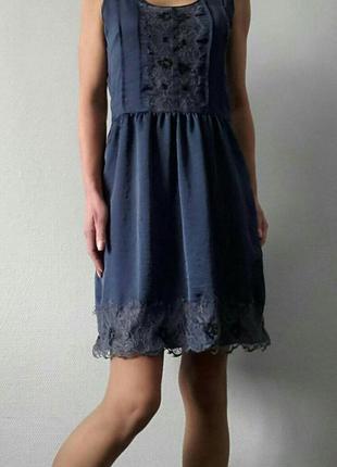 Горячие скидки!!! милое шёлковое платье с ажурным принтом