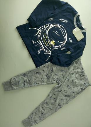 Піжама на довгий рукав zara boys (3-4 р.) з космонавтом, пижама пижамка