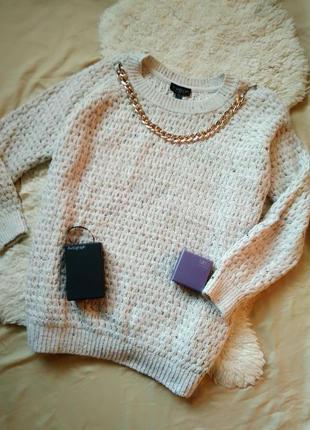 Бежевый молочный свитер вязаный оверсайз объемный от topshop, s, m, l