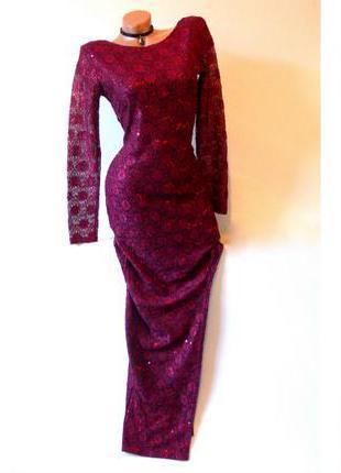 Платье с вырезом блестки с разрезом пайетки кружевное