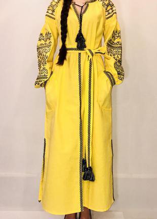 Красивое платье с вышивкой вышиванка 100% хлопок