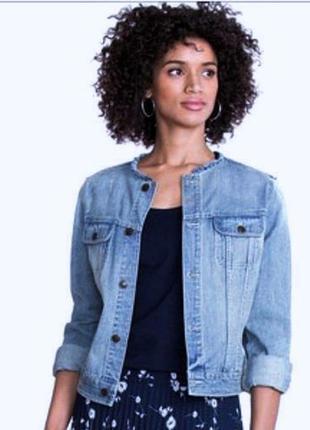 Джинсовая куртка без воротника короткая для женщин chaps (сша), размер s (36)