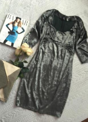 Изящное бархатное платье футляр самый тренд с/ м (1-086)
