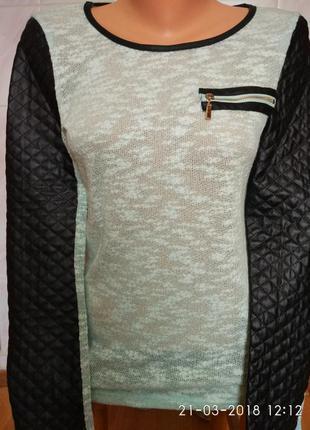 Актуальный свитшот,рукава кожаные