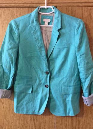 Льняной пиджак  j.crew мятного цвета