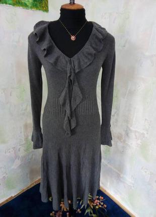 Стильное серое трикотажное платье в рубчик,валан,шерсть,вязаное, солнцеклеш.
