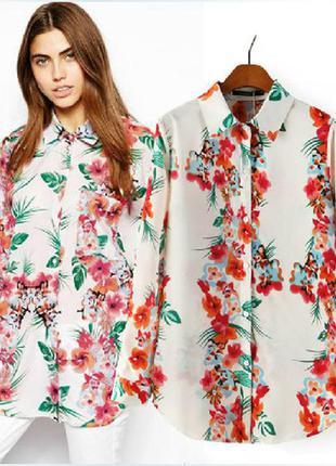 Блуза в цветочный принт🌹🌹🌹акция!!!на все минус 50%🌹🌹🌹
