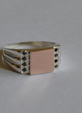 Серебряная печатка с золотыми пластинами 375 пробы