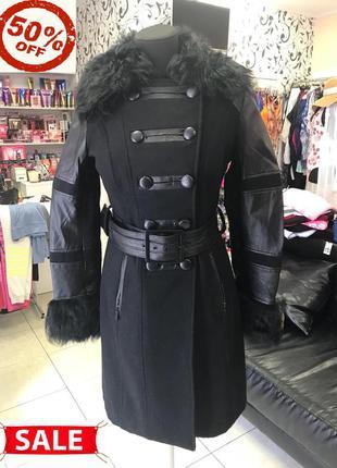 Пальто runway  черное шерсть кожа в размерах xs