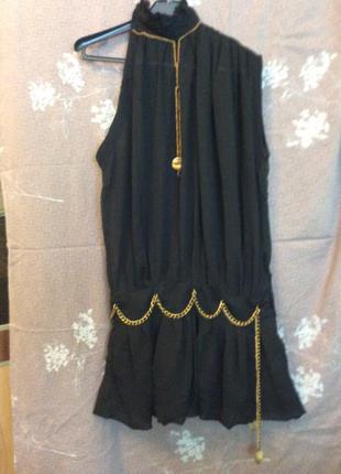 Платье туника чёрная стильна шифоновая