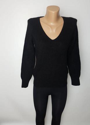 Фирменная базовая кашемировая свитер джемпер водолазка - гольф черный цвет 100% кашемир