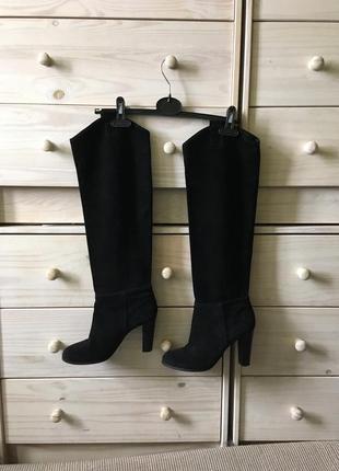 Чёрные высокие замшевые сапоги ботфорты ботфорды 39 zara