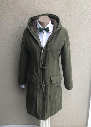 Теплое пальто с капюшоном,парка ,куртка удлиненная,цвета хаки,фуфайка ,хлопок