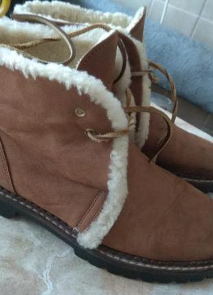 Кожаные деми ботинки 25см италия