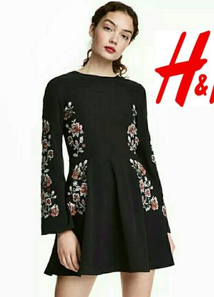 Платье с вышивкой, h&m.размер 36(s)