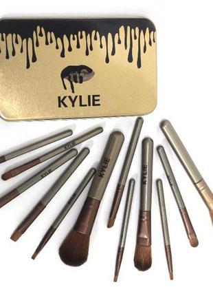 Набор кистей kylie 12 штук, кайли набор, gold , silver