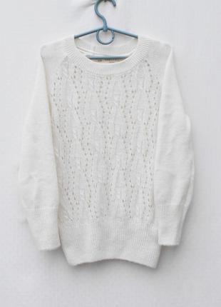 Белый 15% шерстяной 15% мохеровый вязаный ажурный свитер с рукавом 3/4 zaraknit