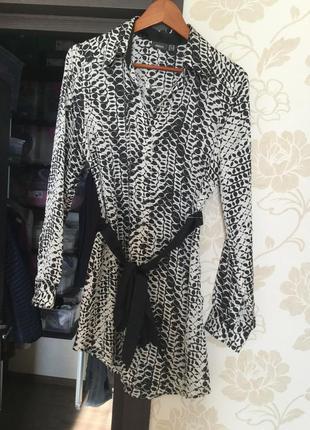 Блуза удлиненная шелковая под пояс mexx