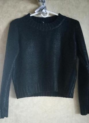Чёрная кофта с кожаным напылением