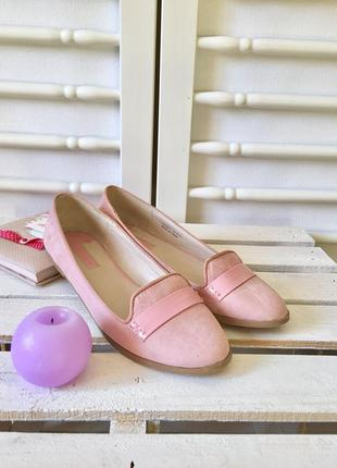 26 см милые туфли балетки на низком ходу нежно розового цвета