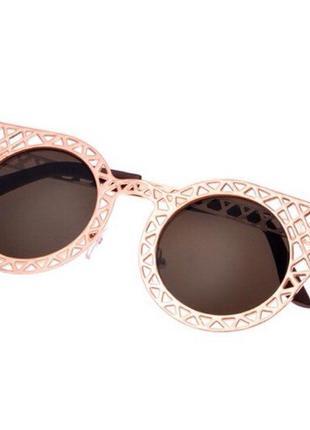 Женские солнцезащитные очки кошачий глаз металлическая оправа cat eye 2018 uv400